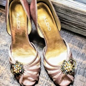 Aldo Donelle Satin Taupe Heels with Embellishments